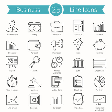 business finance: 25 Business and finance line icons