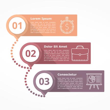 mapa de procesos: diagrama con tres pasos con números e iconos de líneas