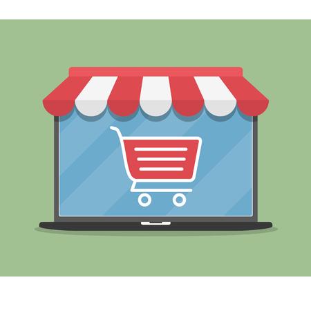 En línea tienda de ilustración concepto, ordenador portátil con toldo y carrito de la compra icono, diseño plano Ilustración de vector