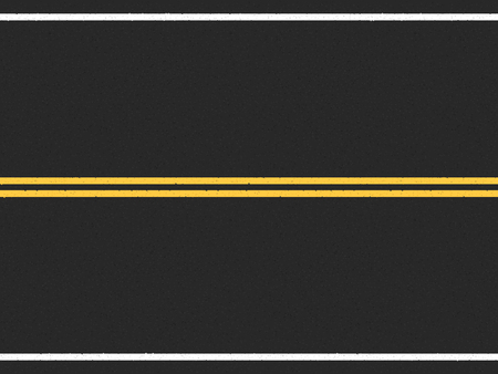 road surface: Horizontal asphalt road with double yellow line in the center Illustration