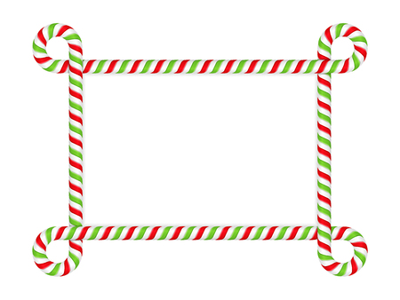 rectangle: Frame made of candy cane Illustration