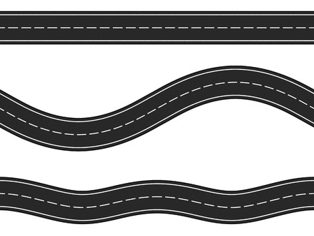 horizontal: Three seamless horizontal asphalt roads on white background