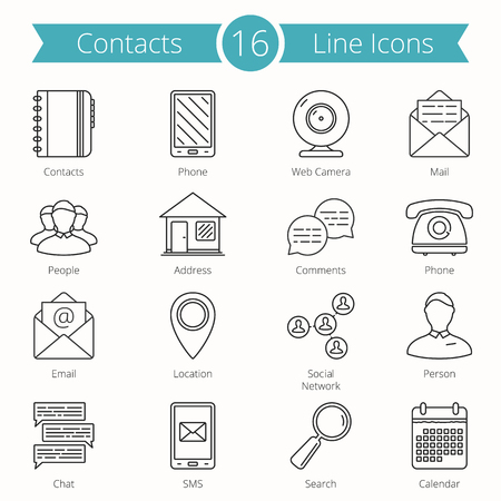 social: Set of 16 Contacts line icons