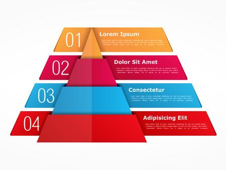 grafica de barras: Infograf�a plantilla con pir�mide con cuatro elementos con n�meros y texto Vectores