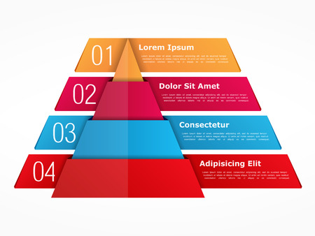 objects: Infographics template with pyramid with four elements with numbers and text