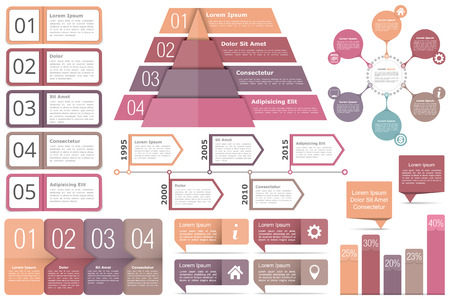 Set of infographic elements - objects with text numbers and icons, timeline, circle diagram, pyramid, bar graph Vettoriali