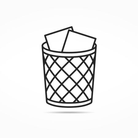 Office trash can line icon