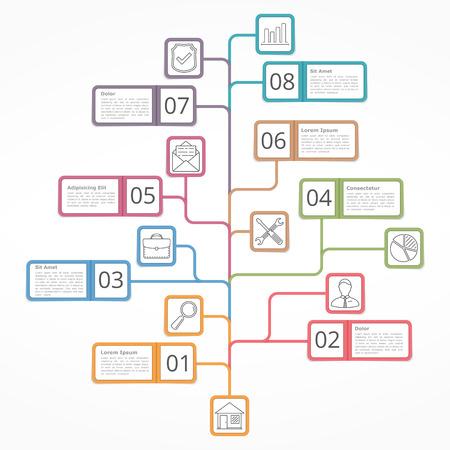 diagrama de arbol: Infografía, diagrama de árbol con objetos con texto, números e iconos, diagrama de proceso de flujo de trabajo, Vectores