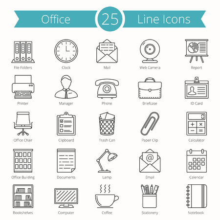 time line: Set of 25 office line icons