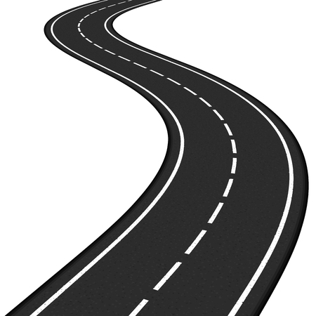 winding: Black asphalt road on white background Illustration