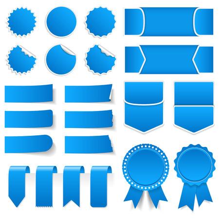 青い値札、シール、ラベル、バナー、リボン  イラスト・ベクター素材
