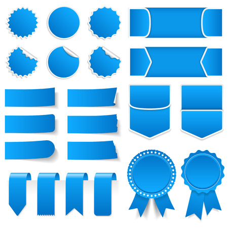 Blue price tags, stickers, labels, banners and ribbons
