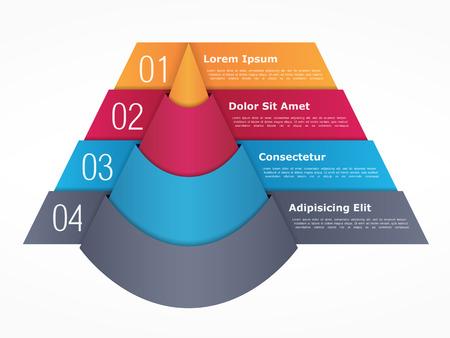 grafica de barras: Infografía plantilla con pirámide con cuatro elementos con números y texto Vectores