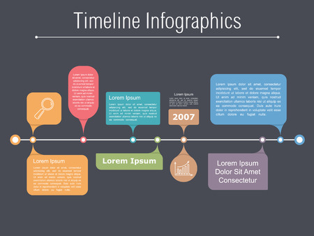 bar graph: Timeline infographics template with different elements for your information, text and icons