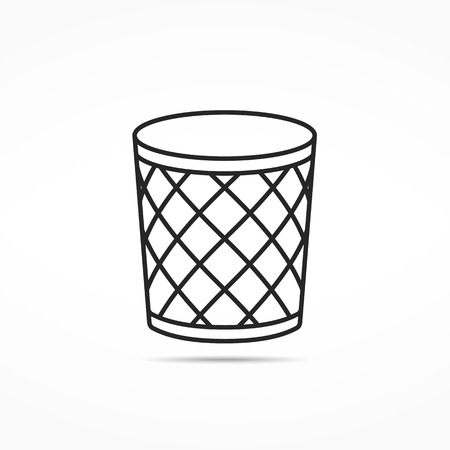Empty office trash can line icon Illustration