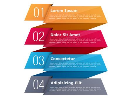 cuatro elementos: Cuatro pasos, plantilla de la infografía con los cuatro elementos y el lugar de su texto, se pueden utilizar como procesos, etapas u opciones, estilo de la cinta del origami