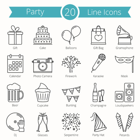 20 party line icons Vettoriali