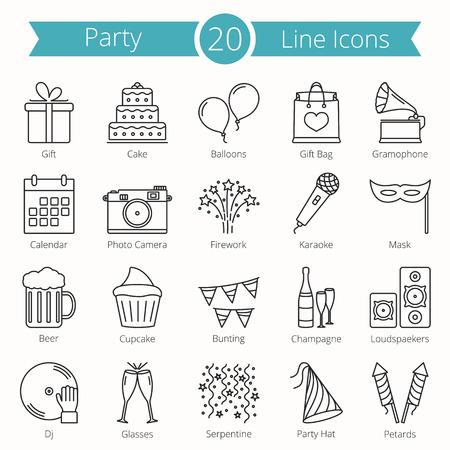 20 party line icons Stock Illustratie