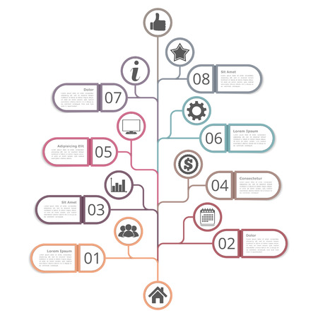 Tree diagram template with numbers, icons and place for your text