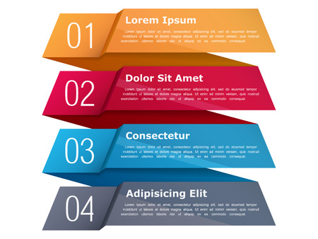 four elements: Four steps, infographics template with four elements and place for your text, can be used as process, steps or options, origami ribbon style