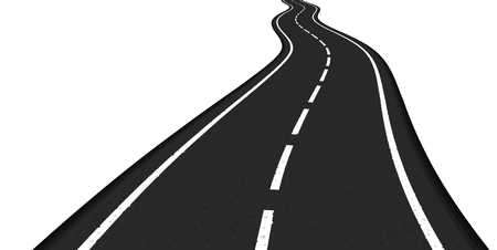 tarmac: Asphalt road on white background