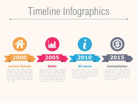 Timeline infographics met pijlen pictogrammen en tekst