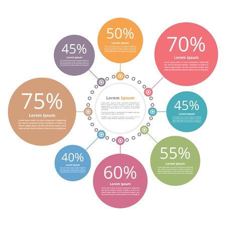 Circle diagram with percents infographic template