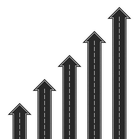 Flechas de camino conjunto de diferentes tamaños