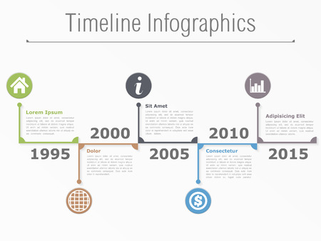 Horizontal timeline infographics template