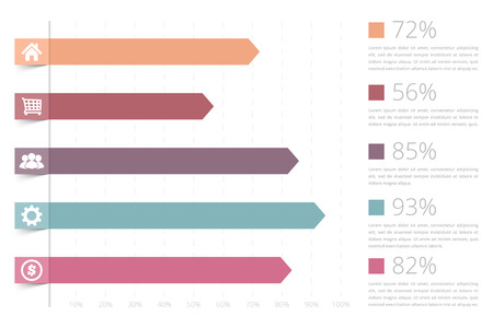 graph trend: Horizontal bar graph template with icons
