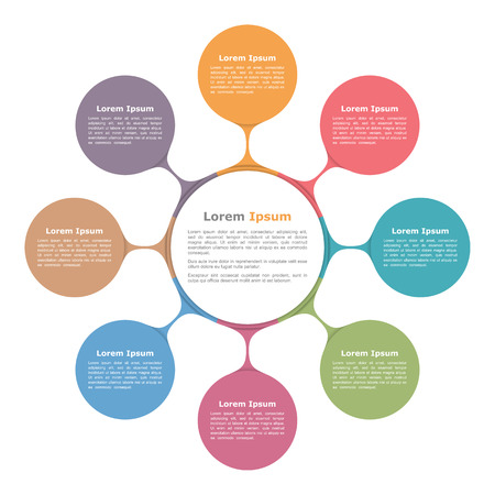 flow diagram: Circle diagram with eight elements, infographic template