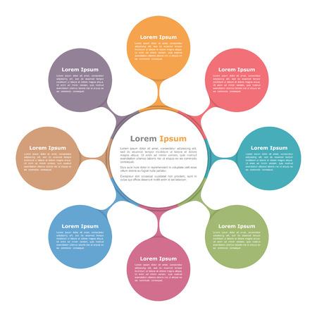 Schemat okrąg z ośmiu elementów, infografika szablon