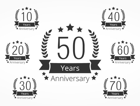 number 50: Set of 7 anniversary emblems