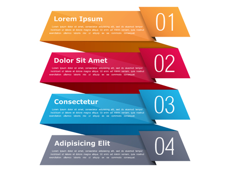Four steps, infographics template with four elements and place for your text, can be used as process, steps or options