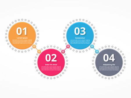 番号とテキスト、プロセス図、手順またはオプション 4 つの接続されている円