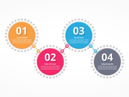 cuatro elementos: Cuatro círculos conectados con números y texto, diagramas de proceso, etapas u opciones