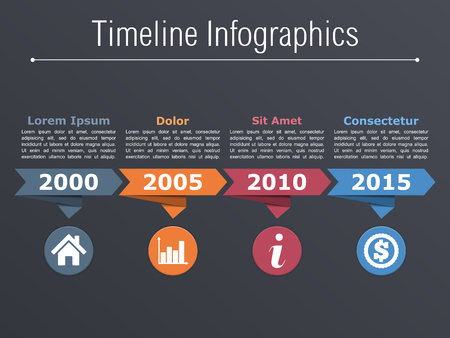 time line: Timeline infographics with arrows icons and text