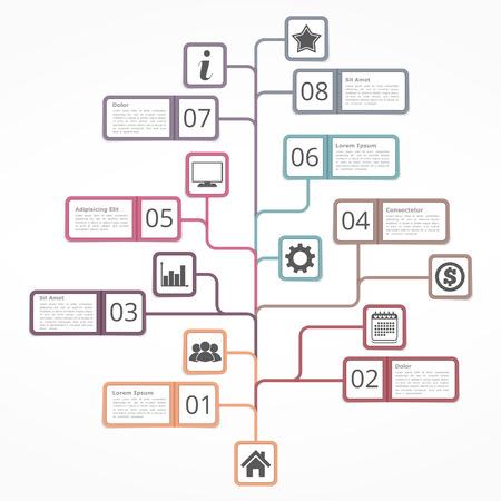 diagrama de arbol: plantilla de diagrama de �rbol con iconos n�meros y lugar para su tex