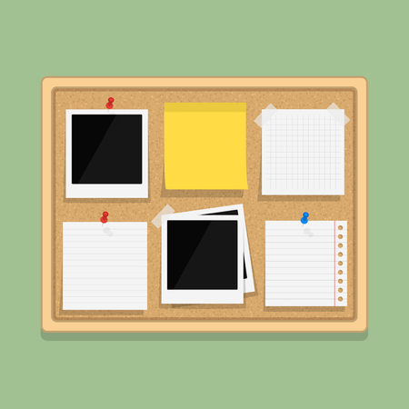 bulletin: Bulletin board with blank paper notes, sticky paper and photos, flat design