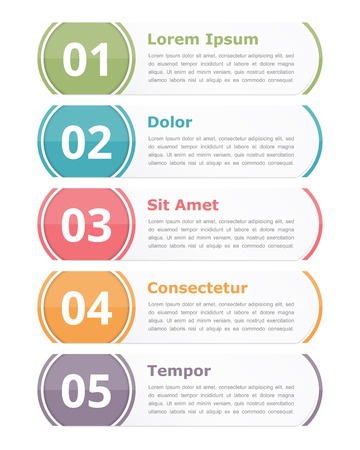 five elements: Set of infographics design elements with numbers steps or options and text
