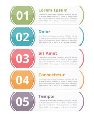 Set van infographics designelementen met cijfers stappen of opties en tekst Stock Illustratie