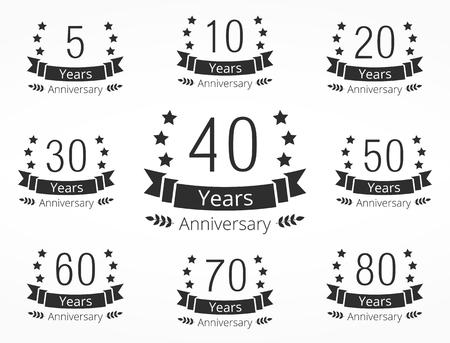 Anniversary Emblemen Vector Illustratie