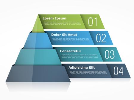 chart Pyramid avec quatre éléments Vecteurs