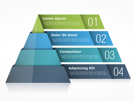 objects: Pyramid chart with four elements Illustration