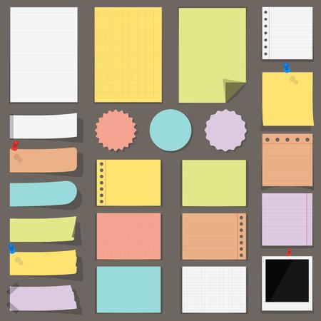 nota de papel: billetes de papel de colores planos, pegatinas y etiquetas
