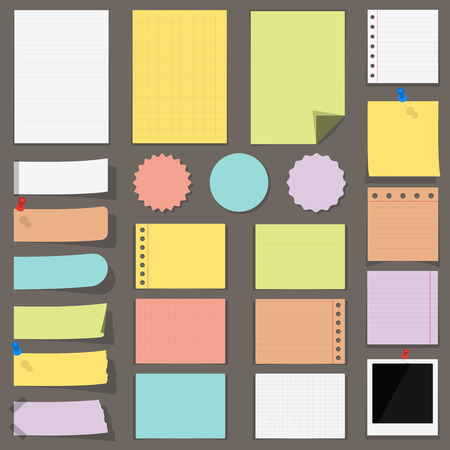 background stationary: Flat colored paper notes, stickers and labels