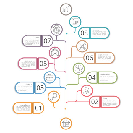 Tree shaped infographics design template with numbers, text boxes and line icons Illustration