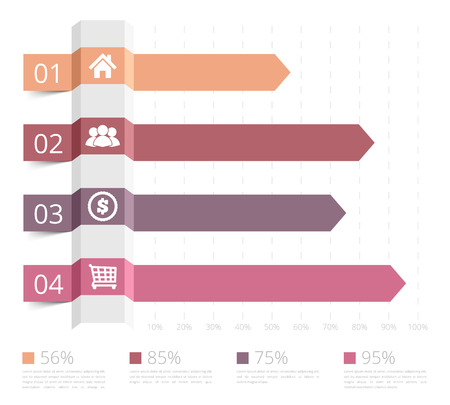 column: Horizontal bar chart with numbers and icons, business infographics template
