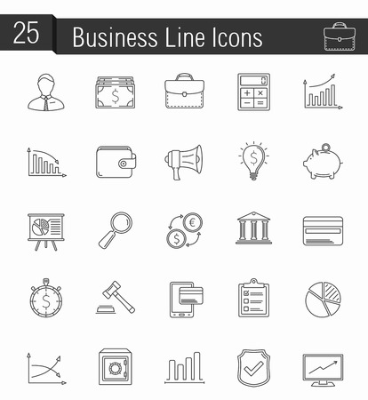 finance icons: 25 Business and finance line icons