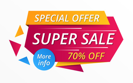 Super sale red banner, special offer, 70 off 矢量图像